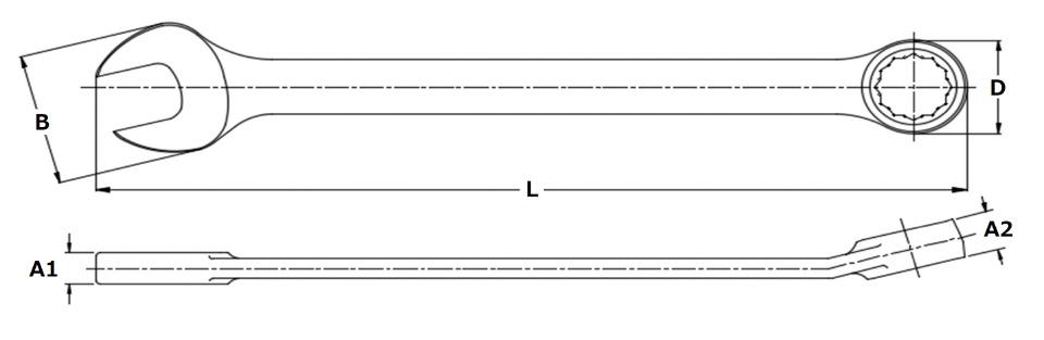 ●スパナ部幅(B;mm):47.1●スパナ部厚み(A1;mm):9.0●メガネ部幅(D;mm):32.3●メガネ部厚み(A2;mm):12.8