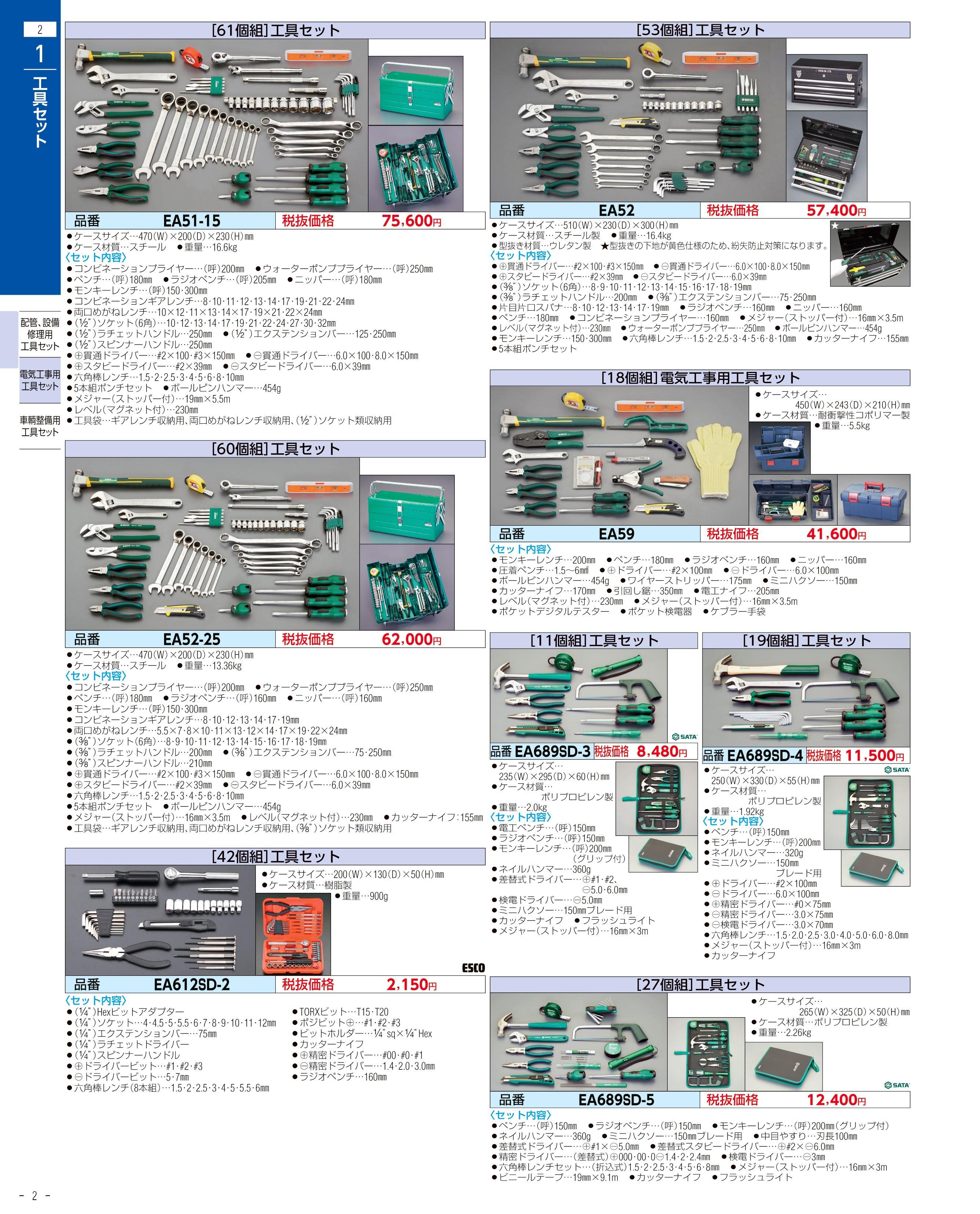 エスコ便利カタログ2ページ