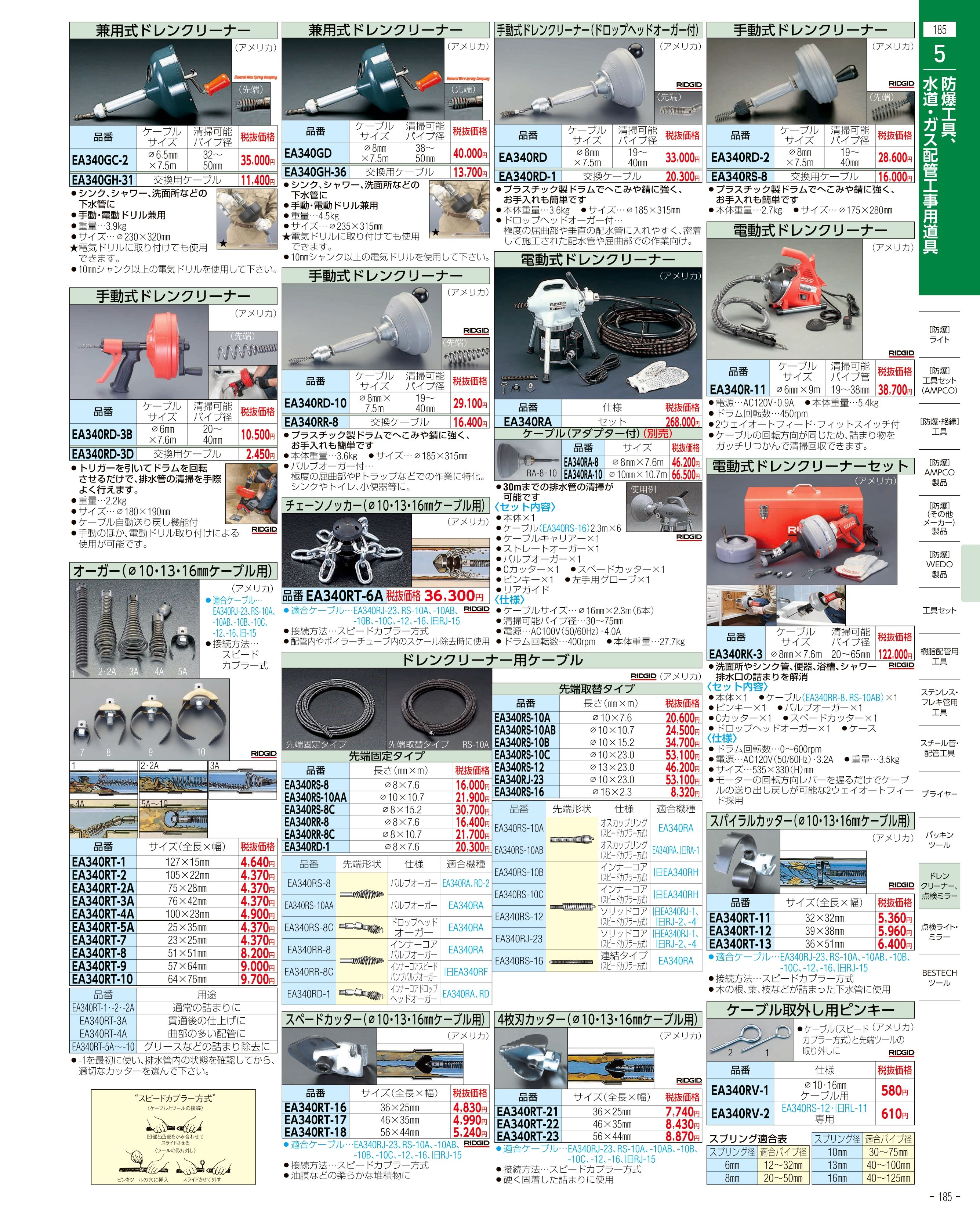 エスコ便利カタログ185ページ