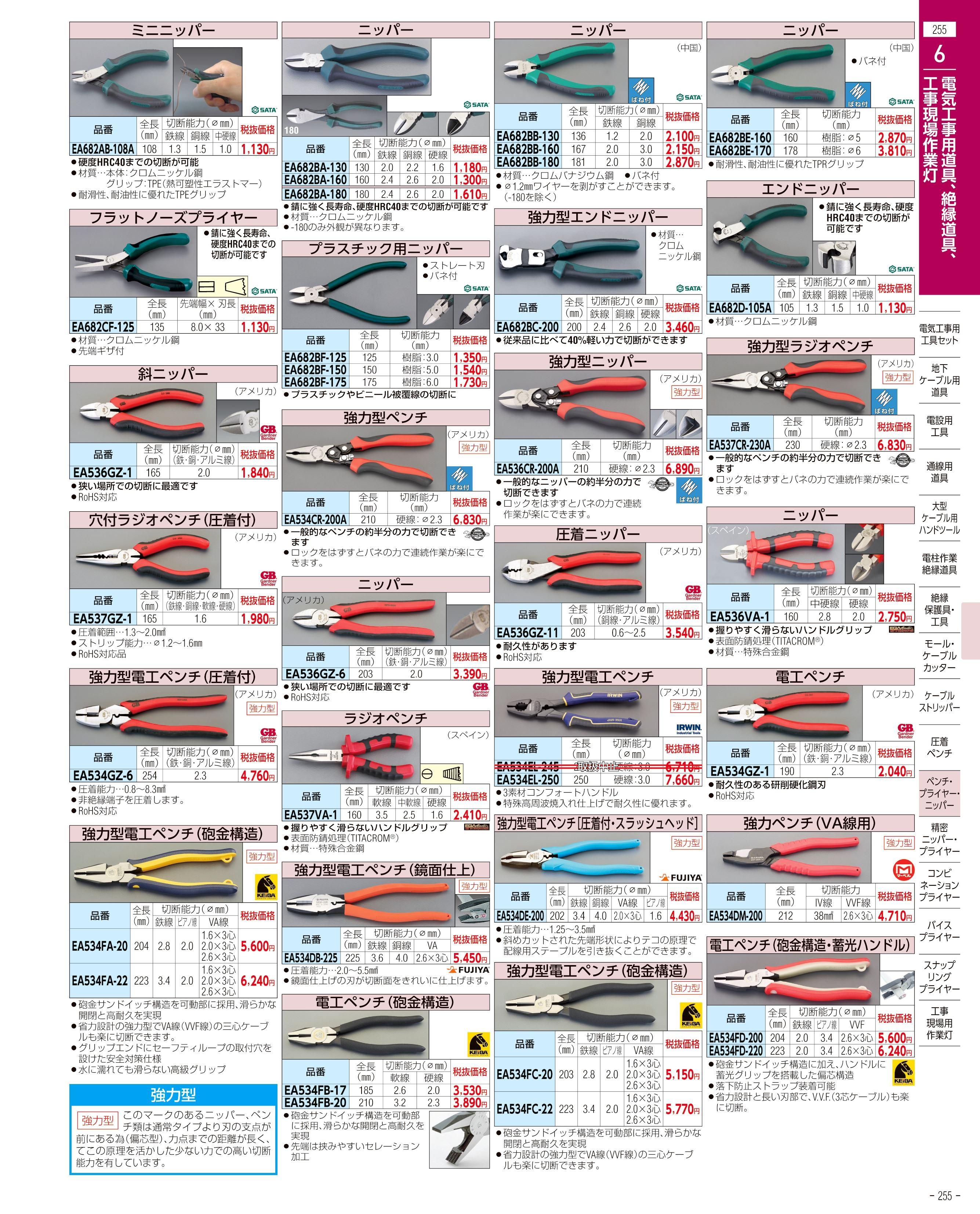 エスコ便利カタログ255ページ
