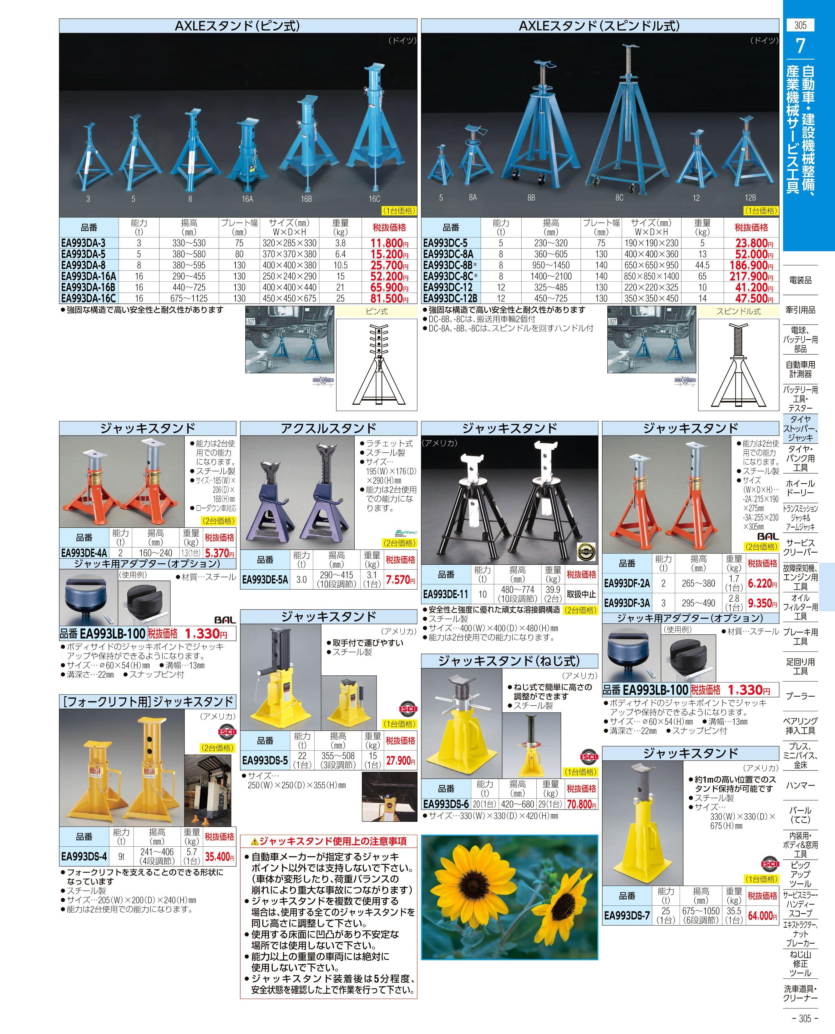 エスコ便利カタログ305ページ