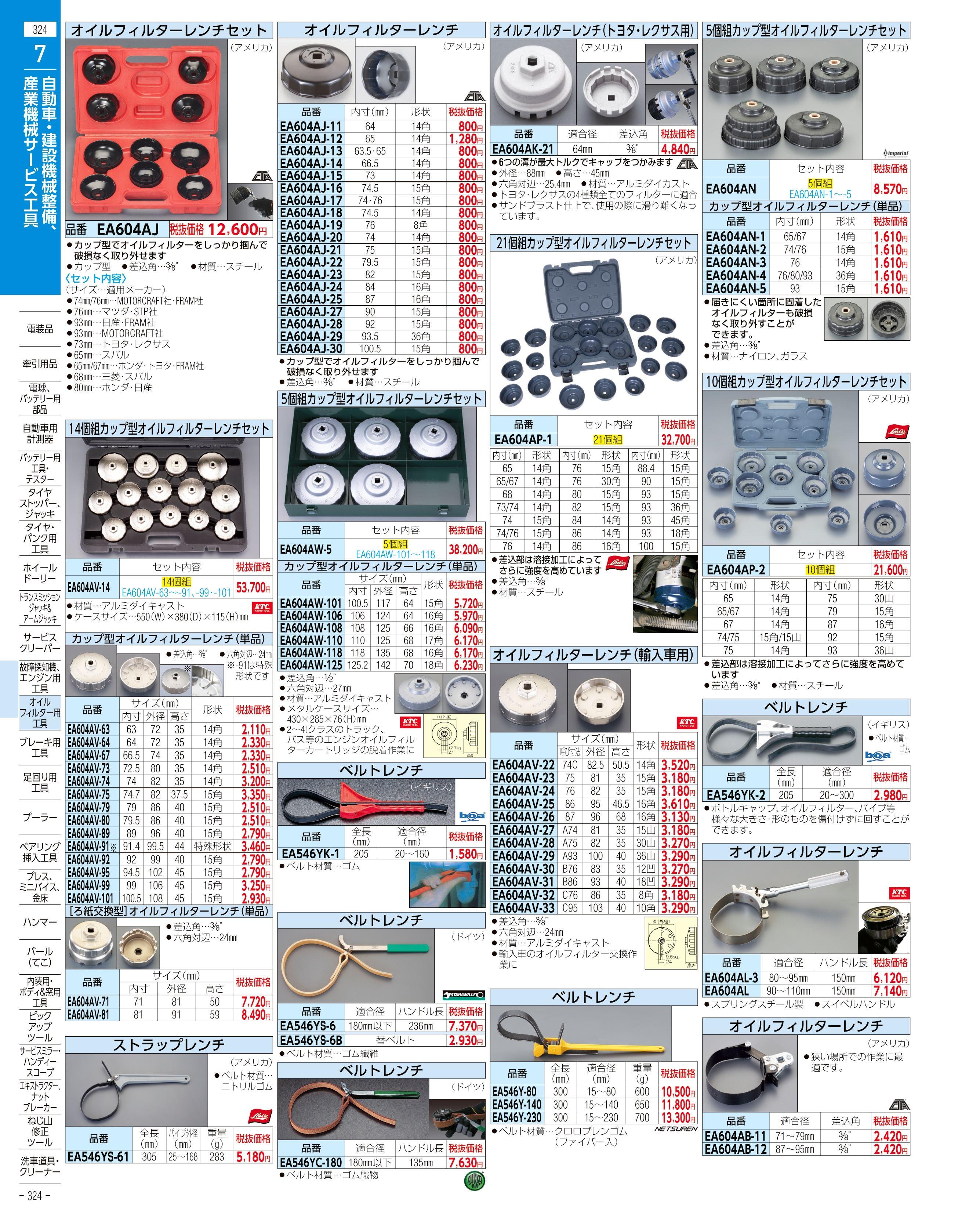 エスコ便利カタログ324ページ