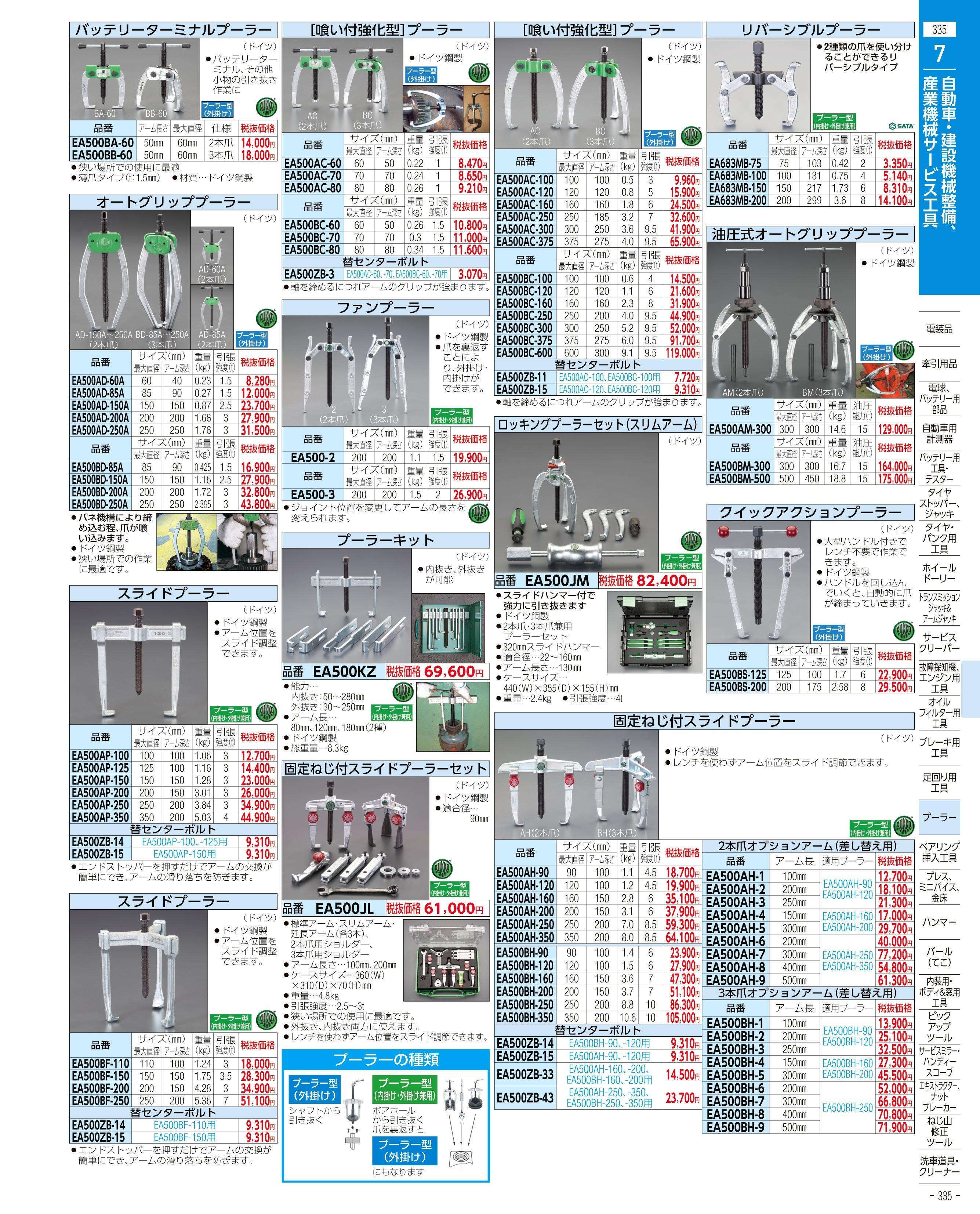エスコ便利カタログ335ページ