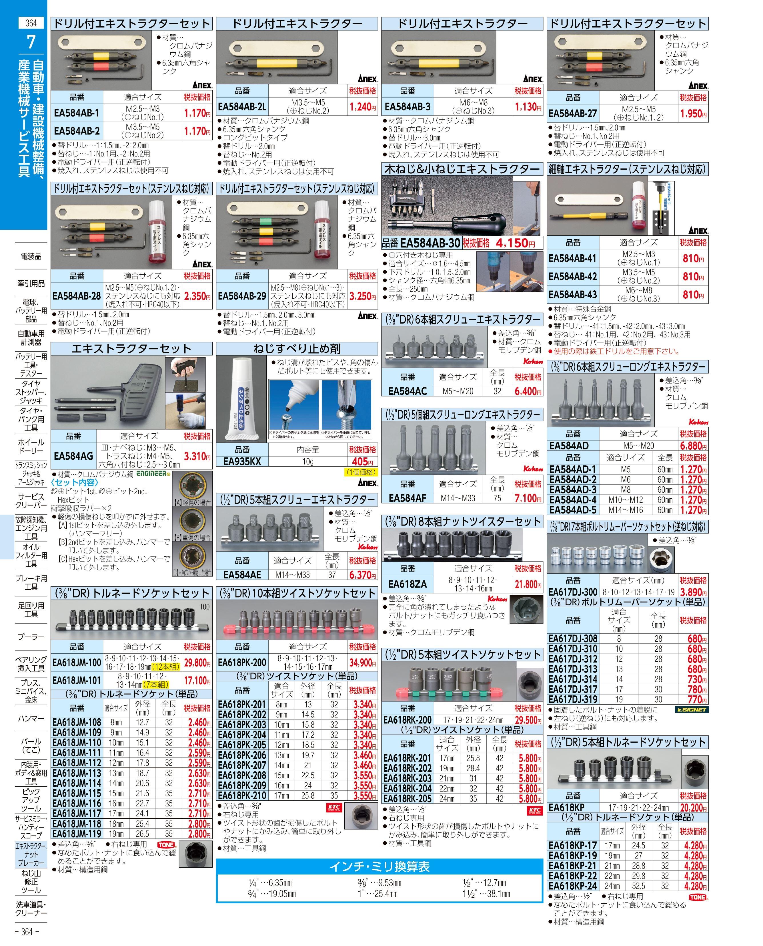 エスコ便利カタログ364ページ
