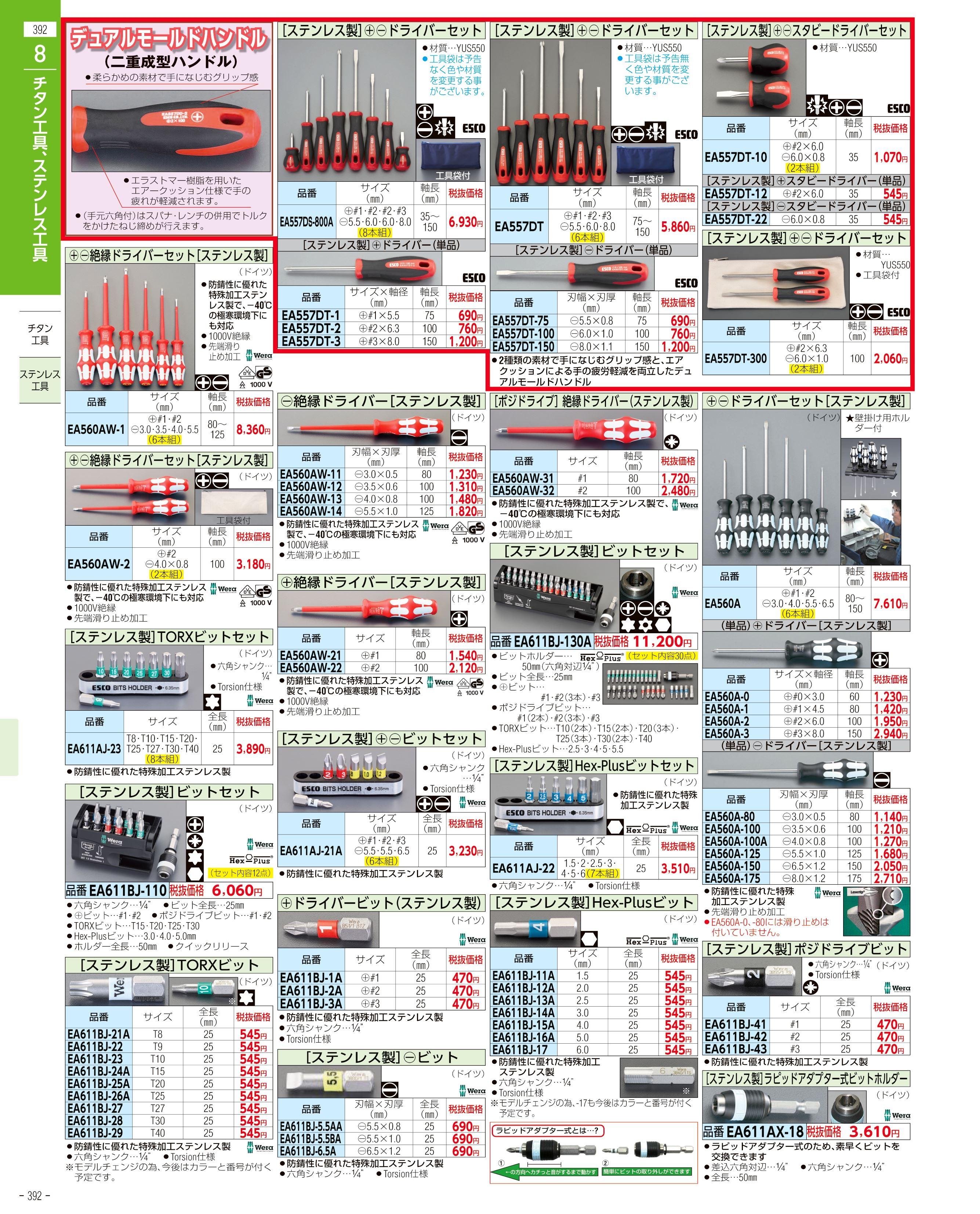 エスコ便利カタログ392ページ