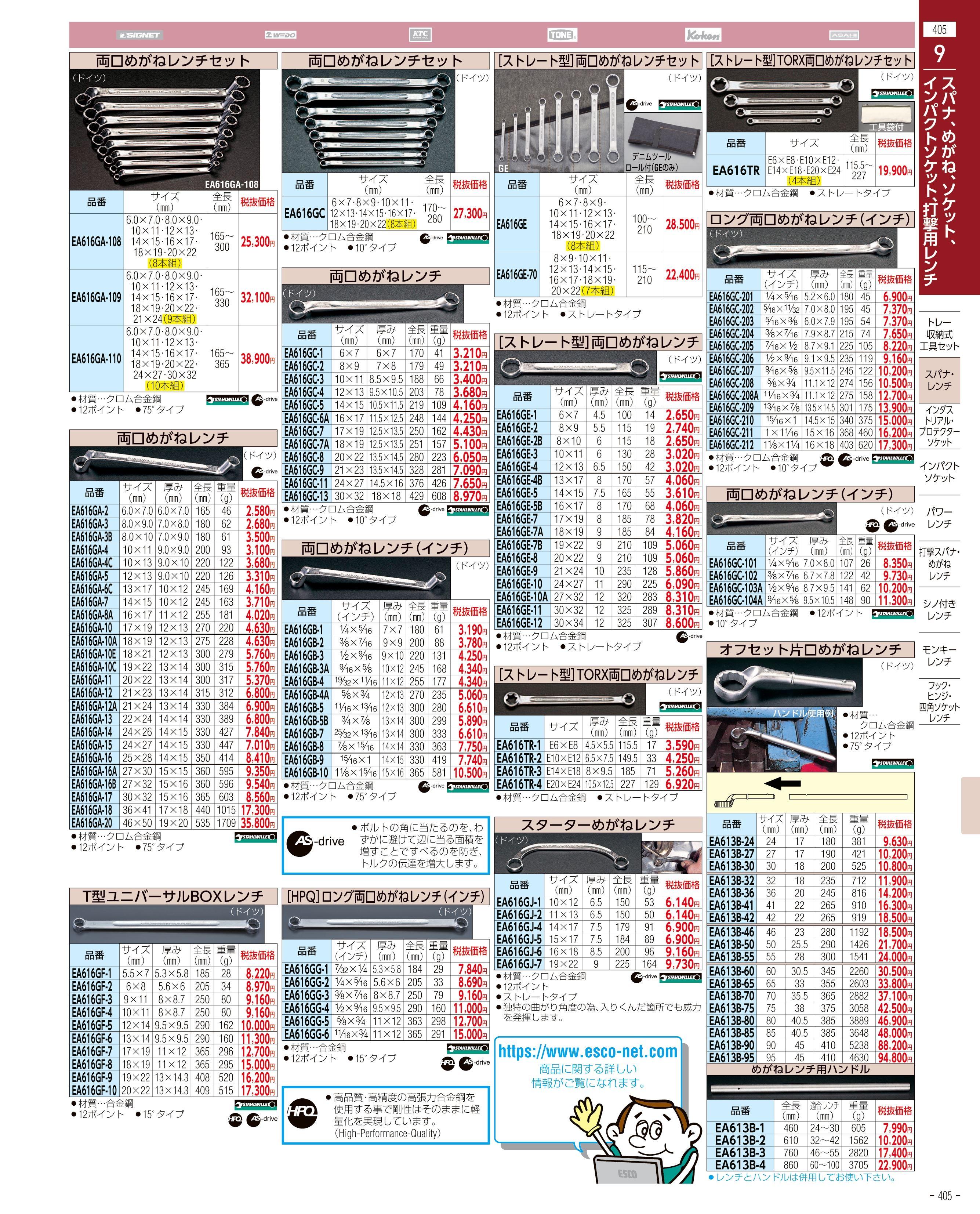 エスコ便利カタログ405ページ