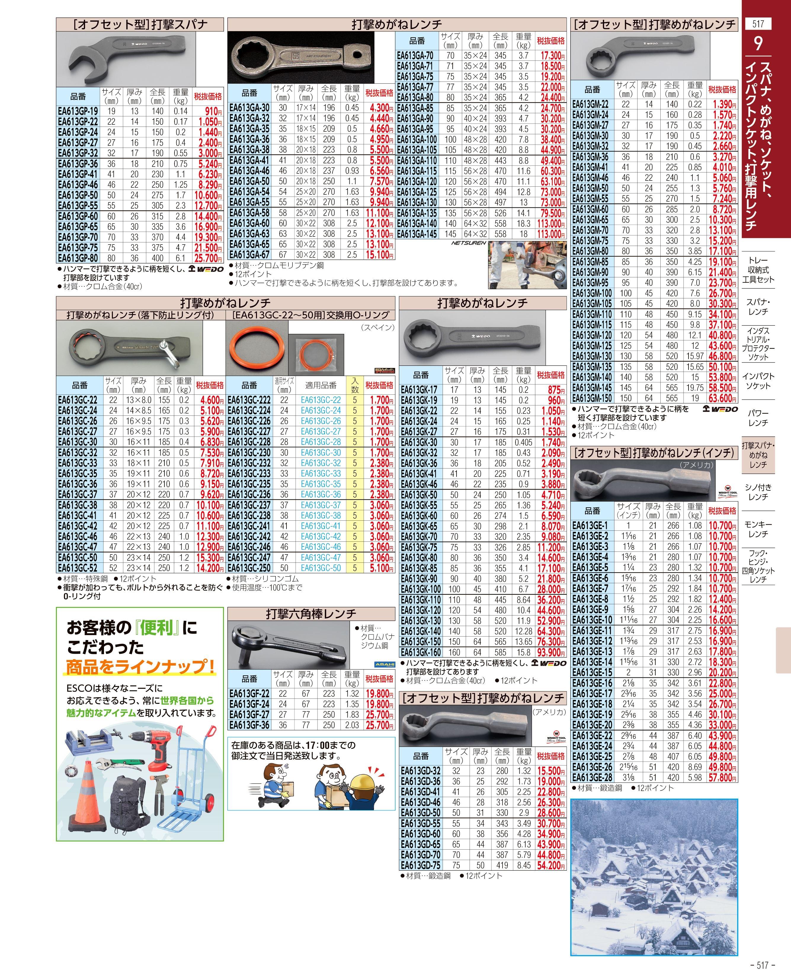 エスコ便利カタログ517ページ