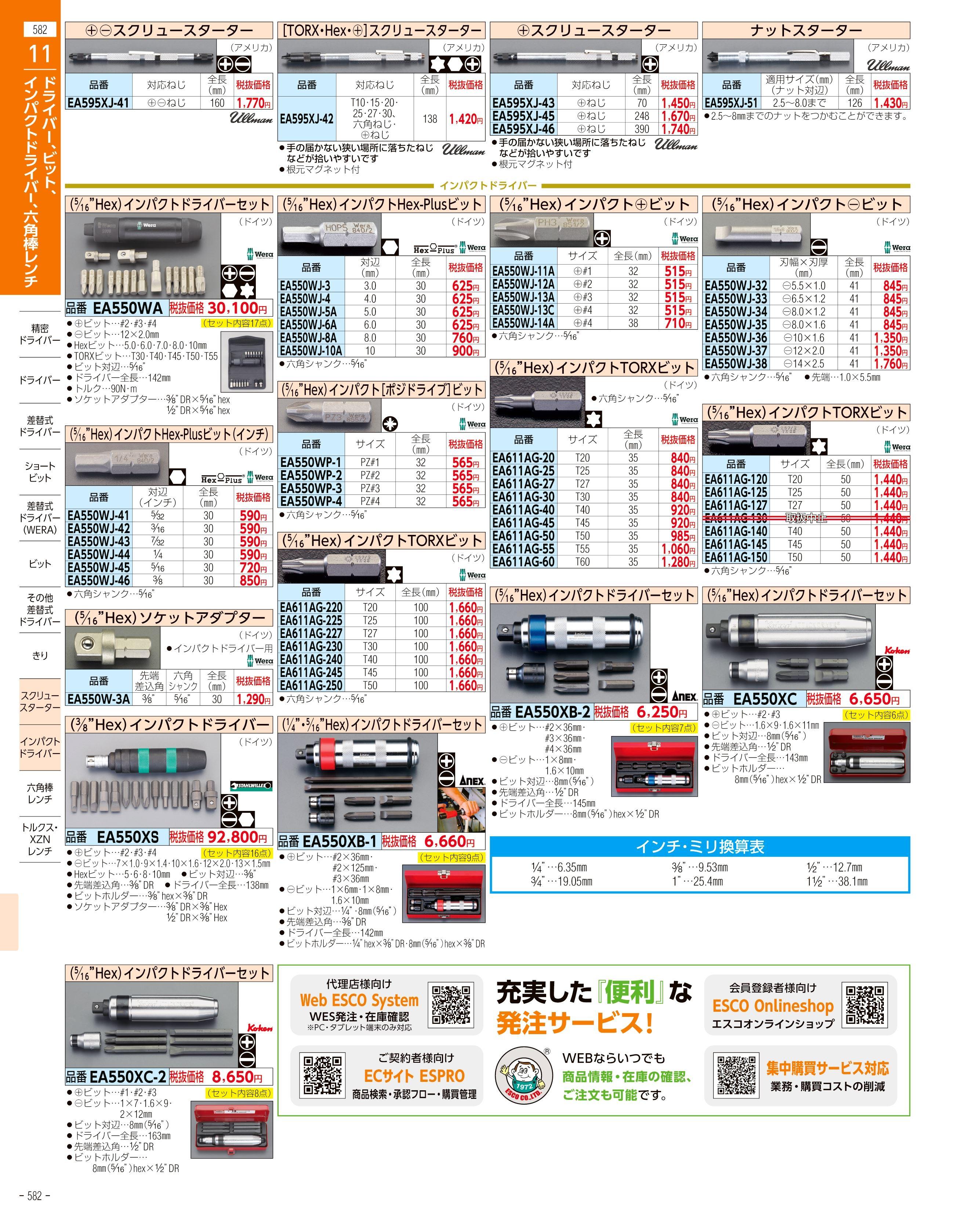 エスコ便利カタログ582ページ