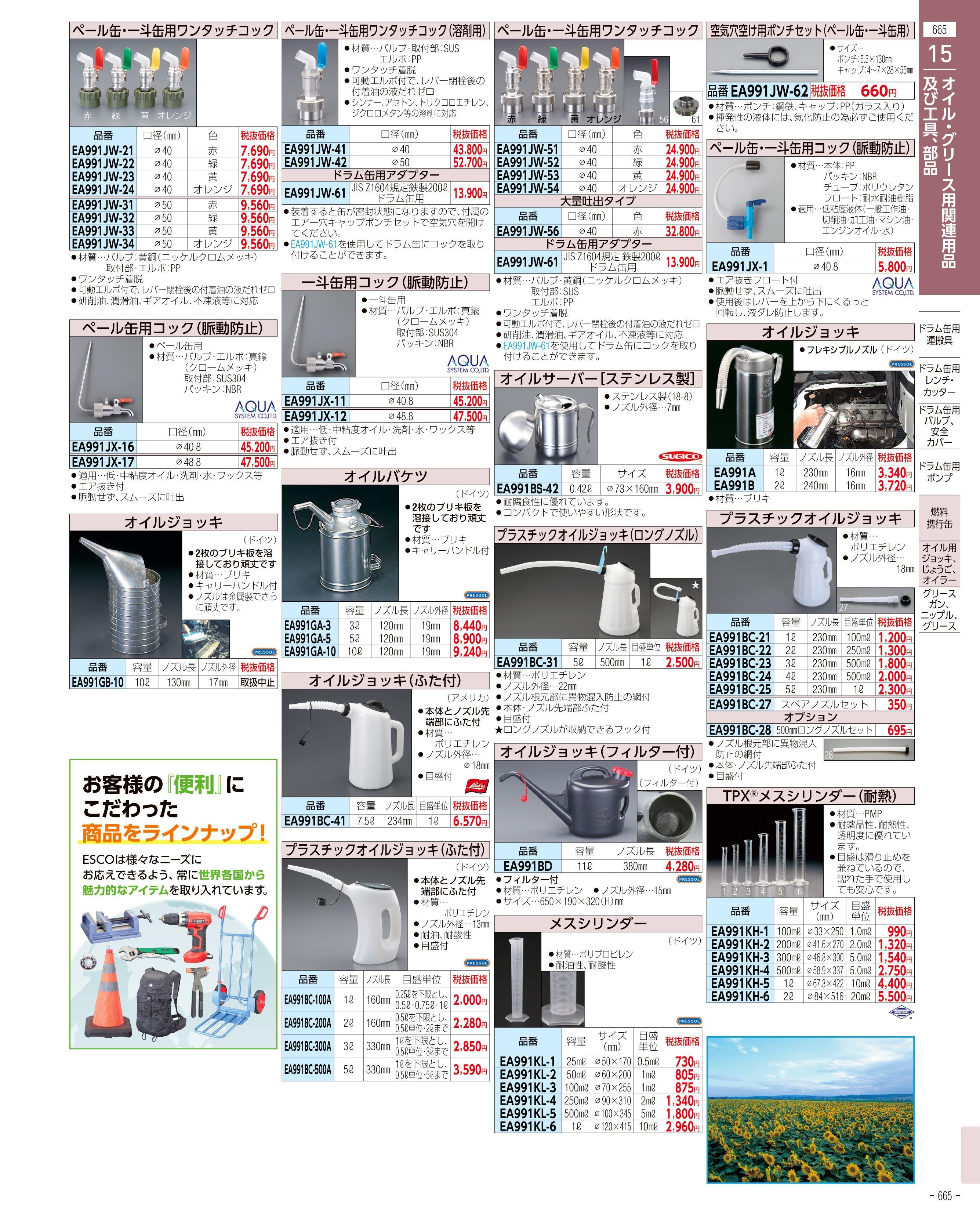 エスコ便利カタログ665ページ