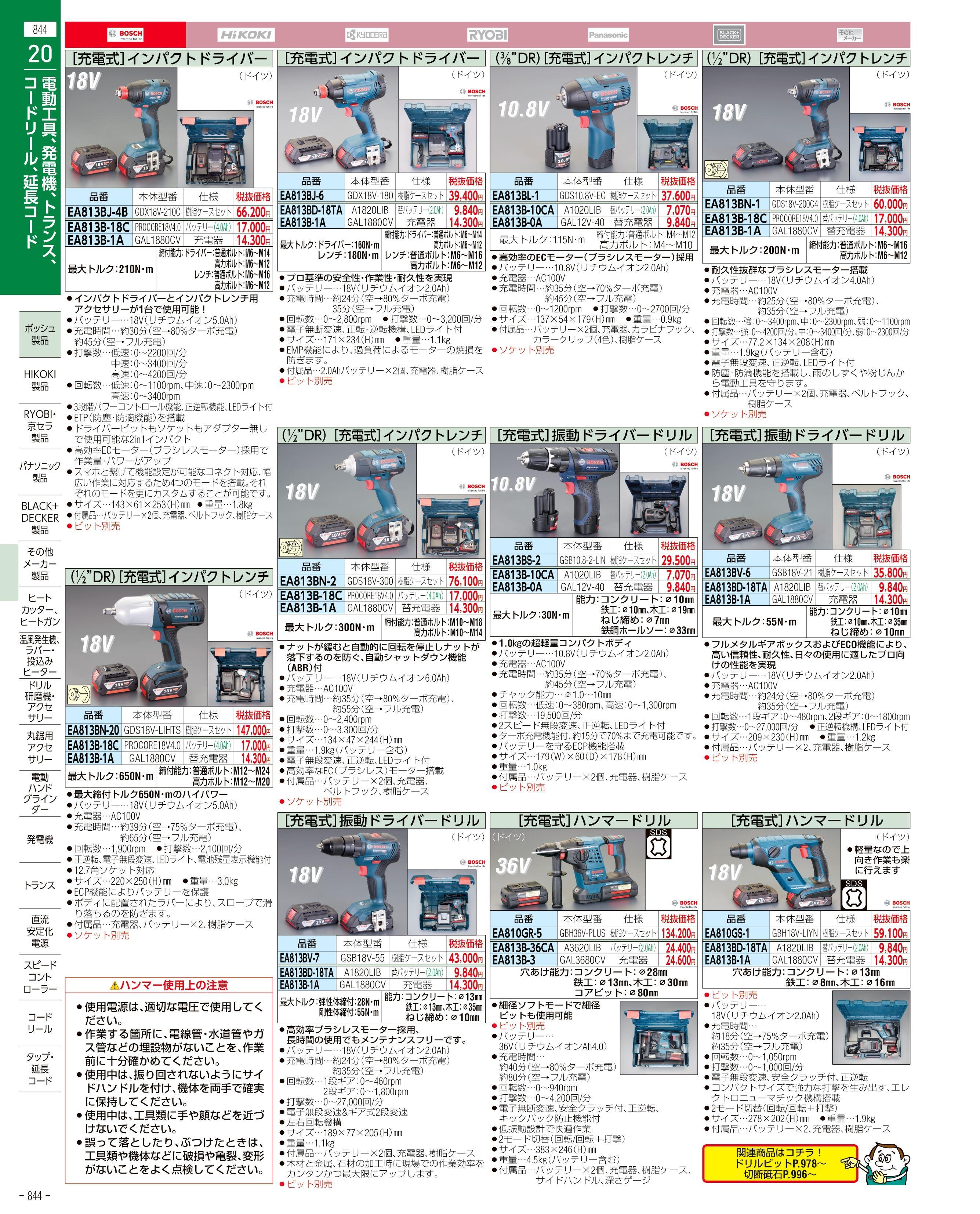 エスコ便利カタログ844ページ