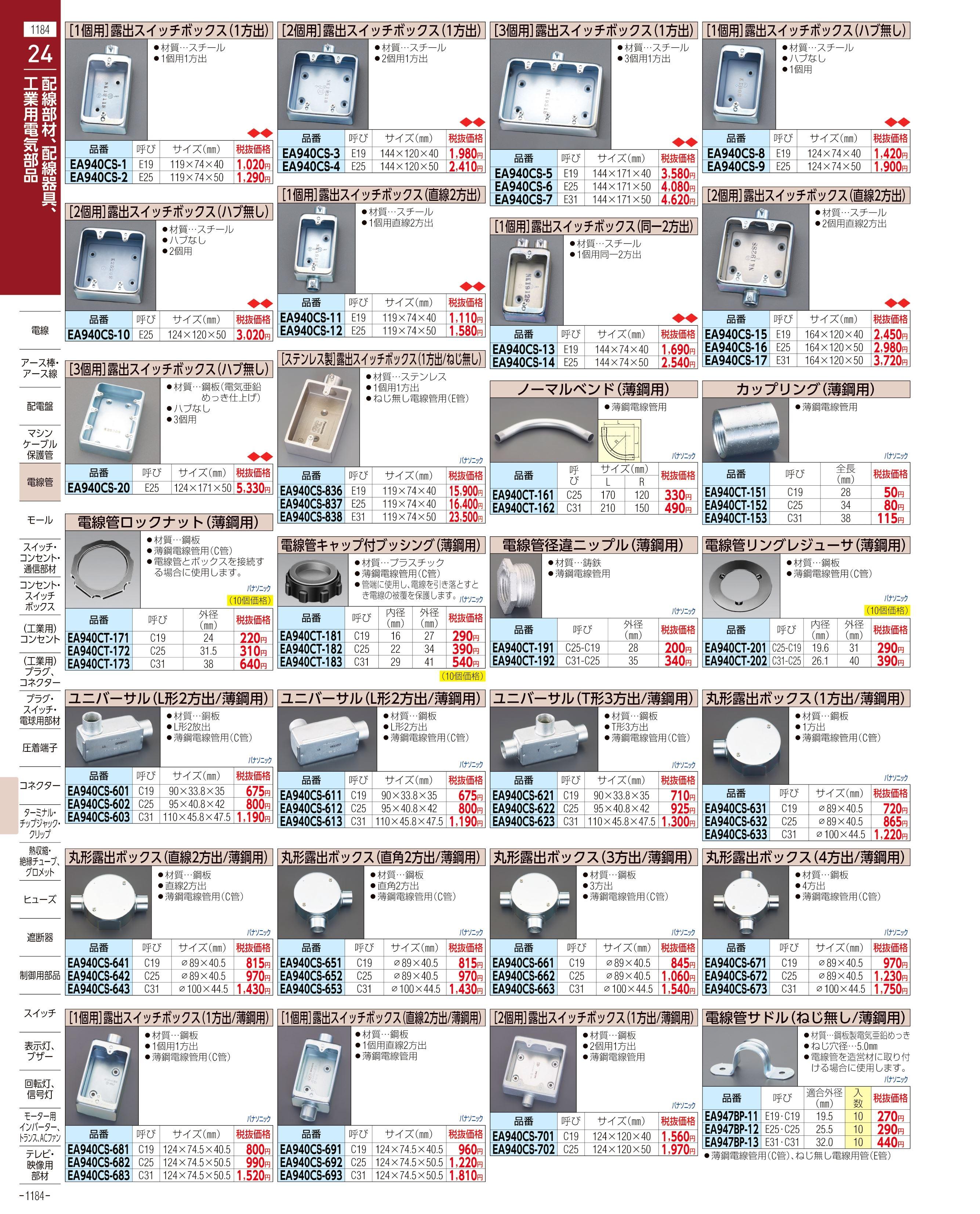 エスコ便利カタログ1184ページ