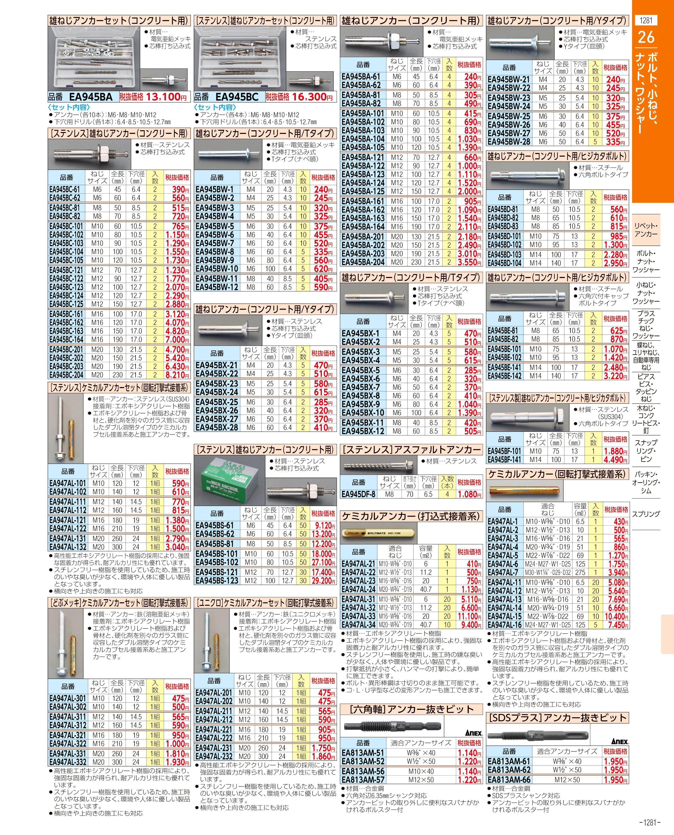 エスコ便利カタログ1281ページ