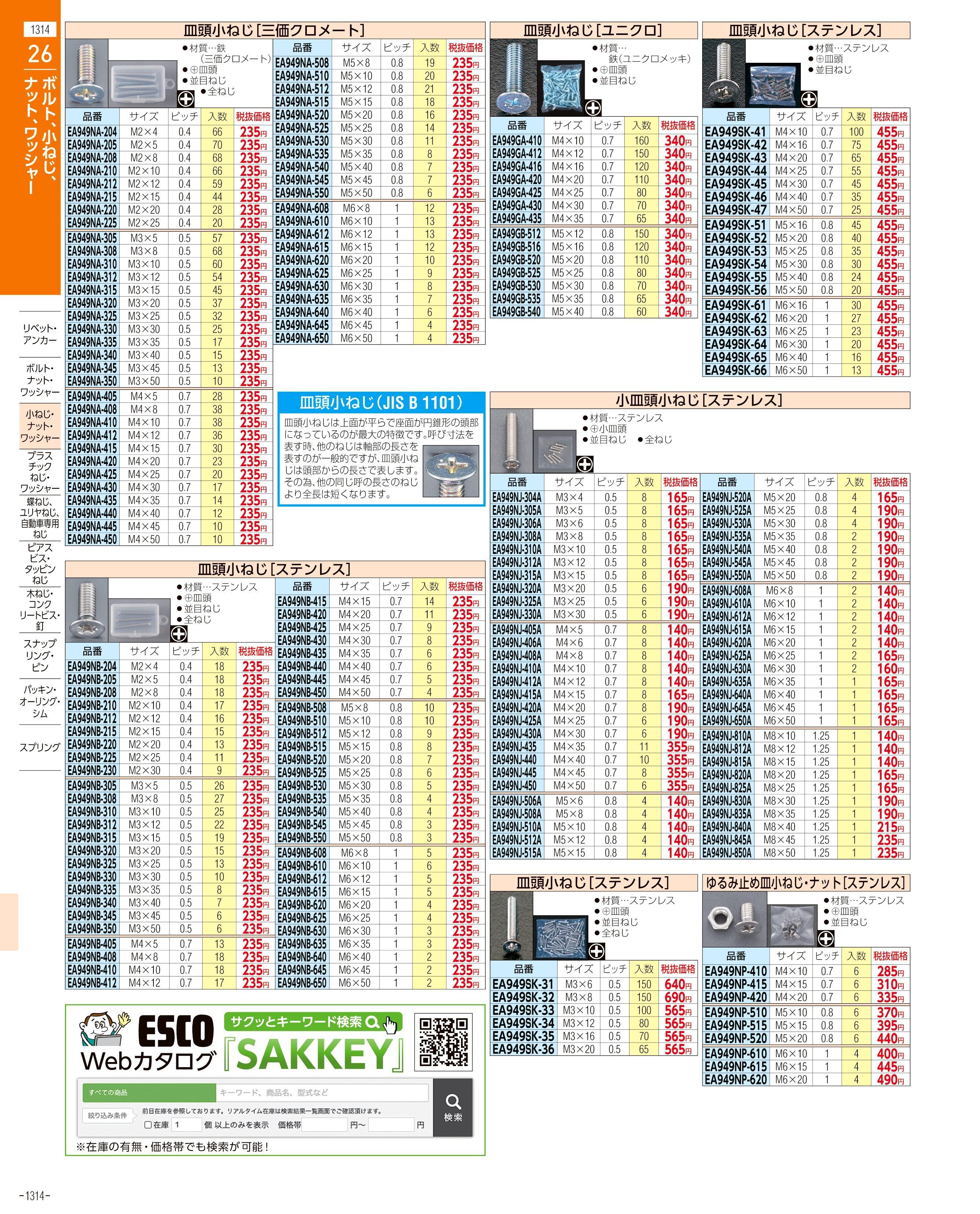 エスコ便利カタログ1314ページ