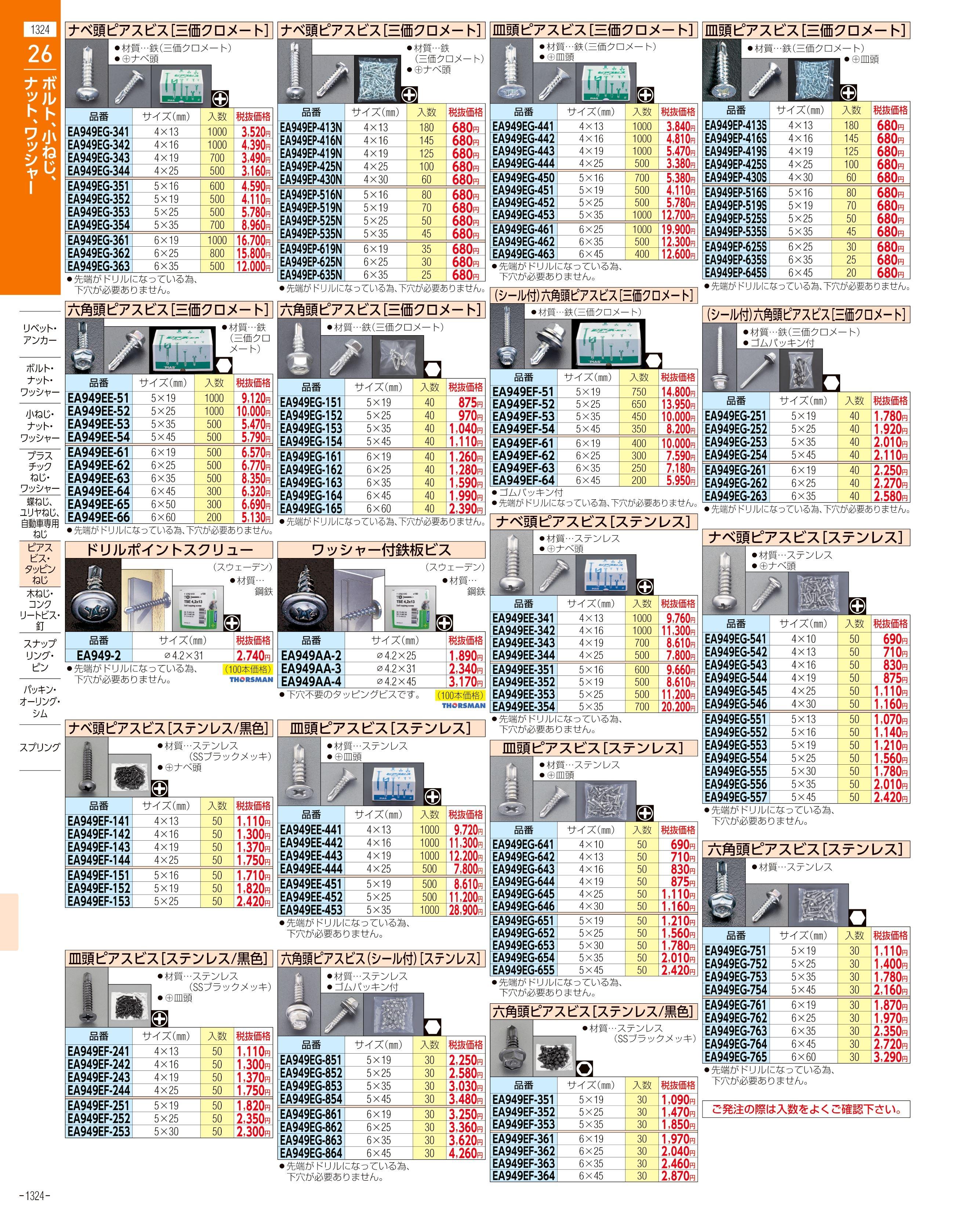 エスコ便利カタログ1324ページ