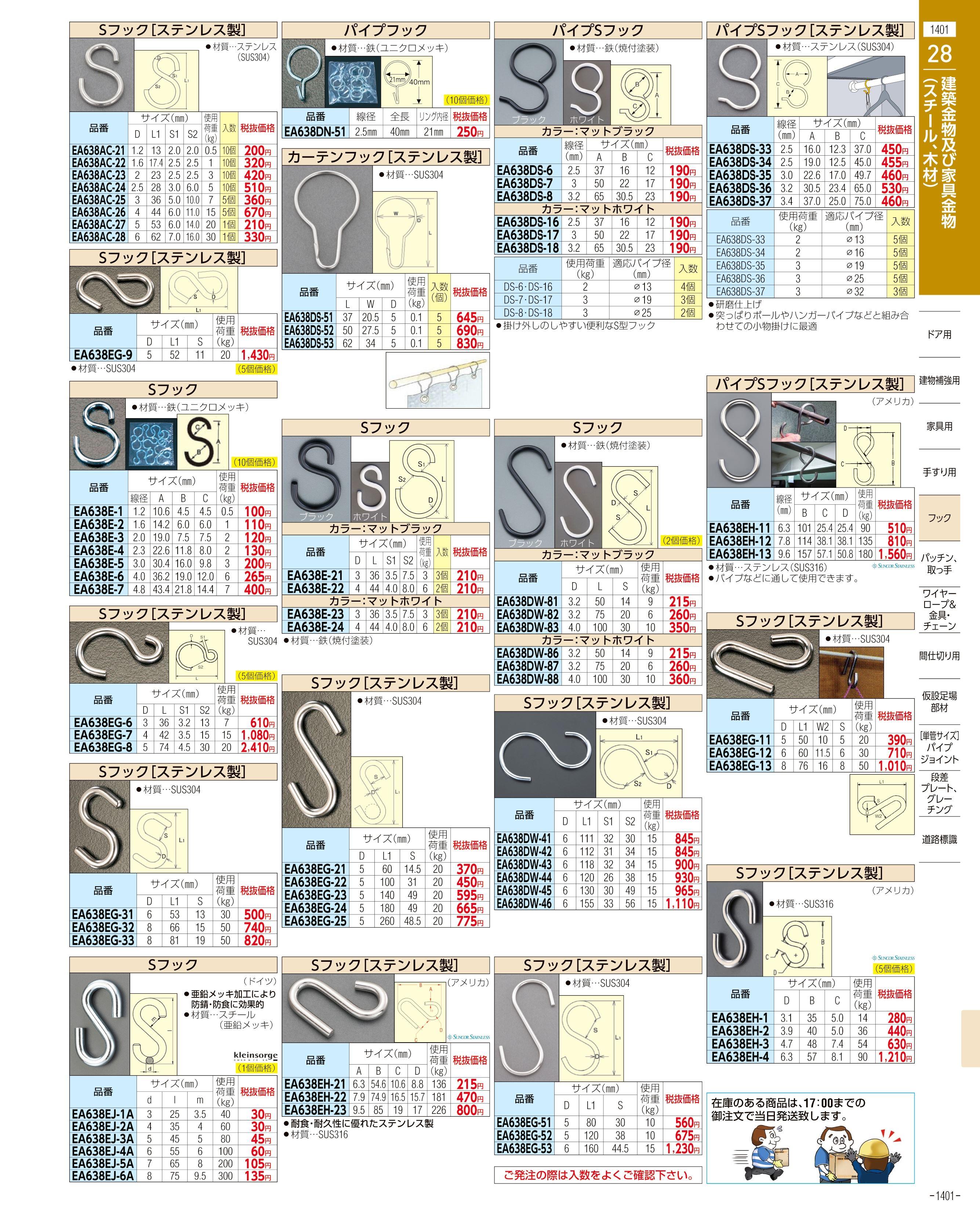 エスコ便利カタログ1401ページ