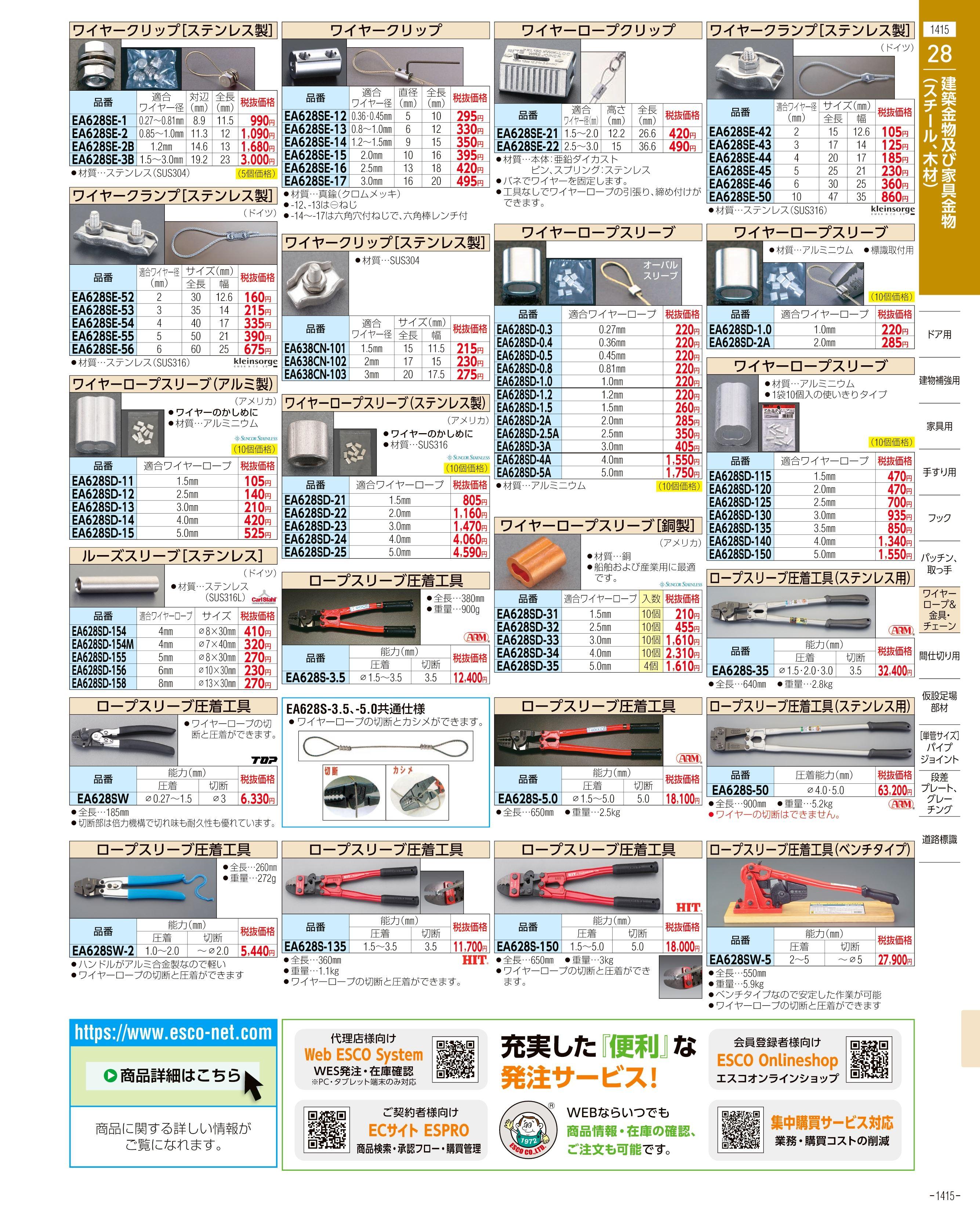 エスコ便利カタログ1415ページ