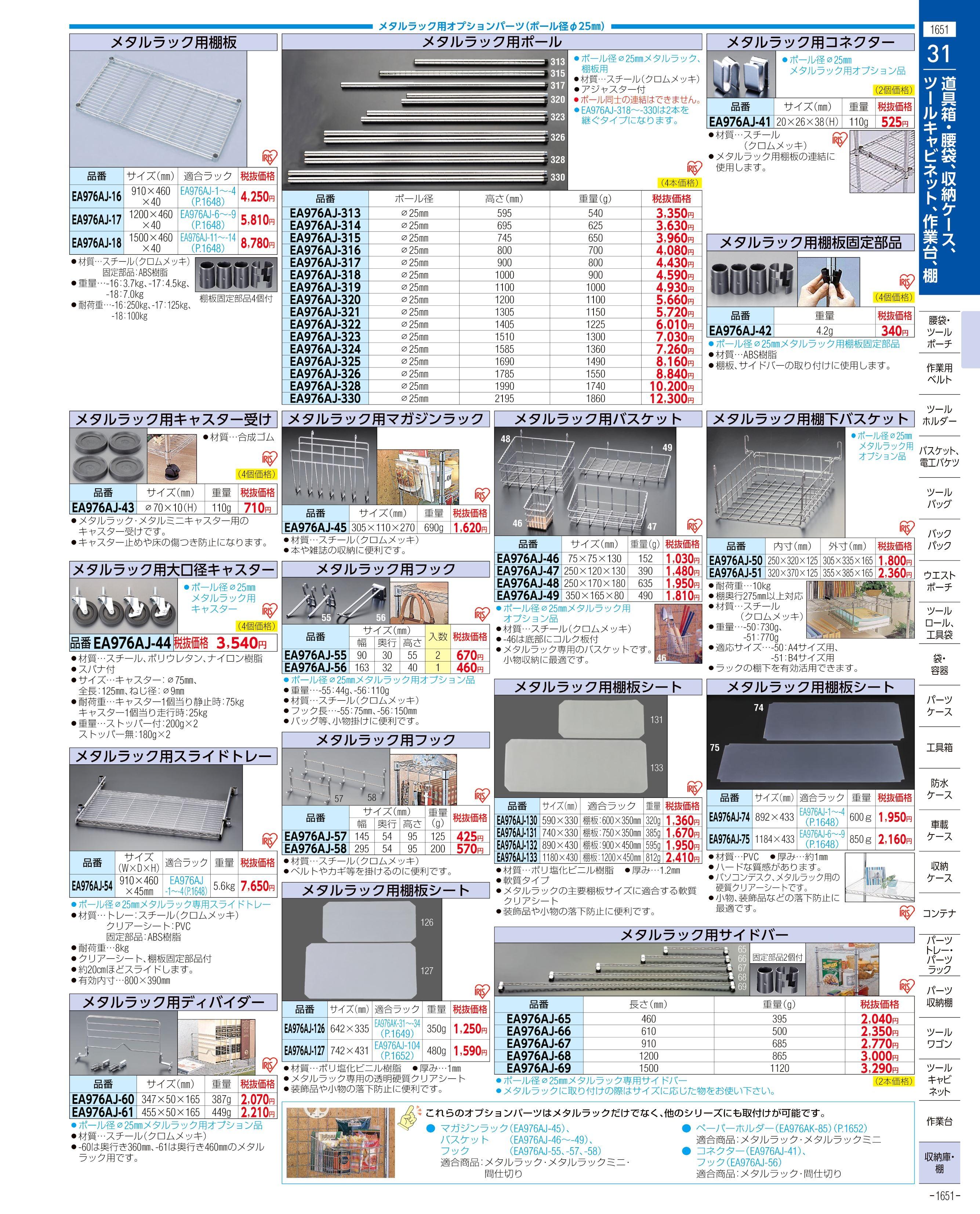 エスコ便利カタログ1651ページ