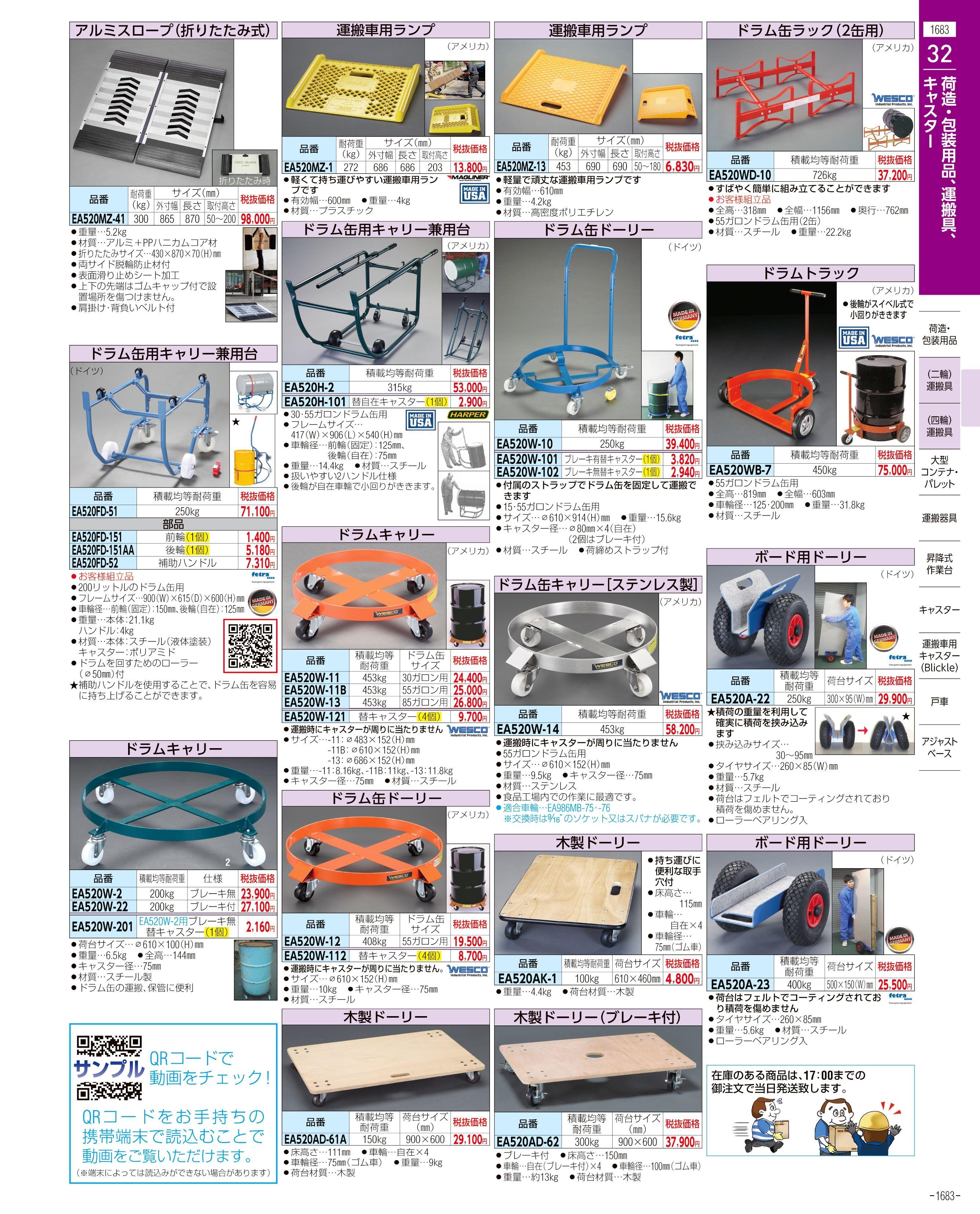 エスコ便利カタログ1683ページ