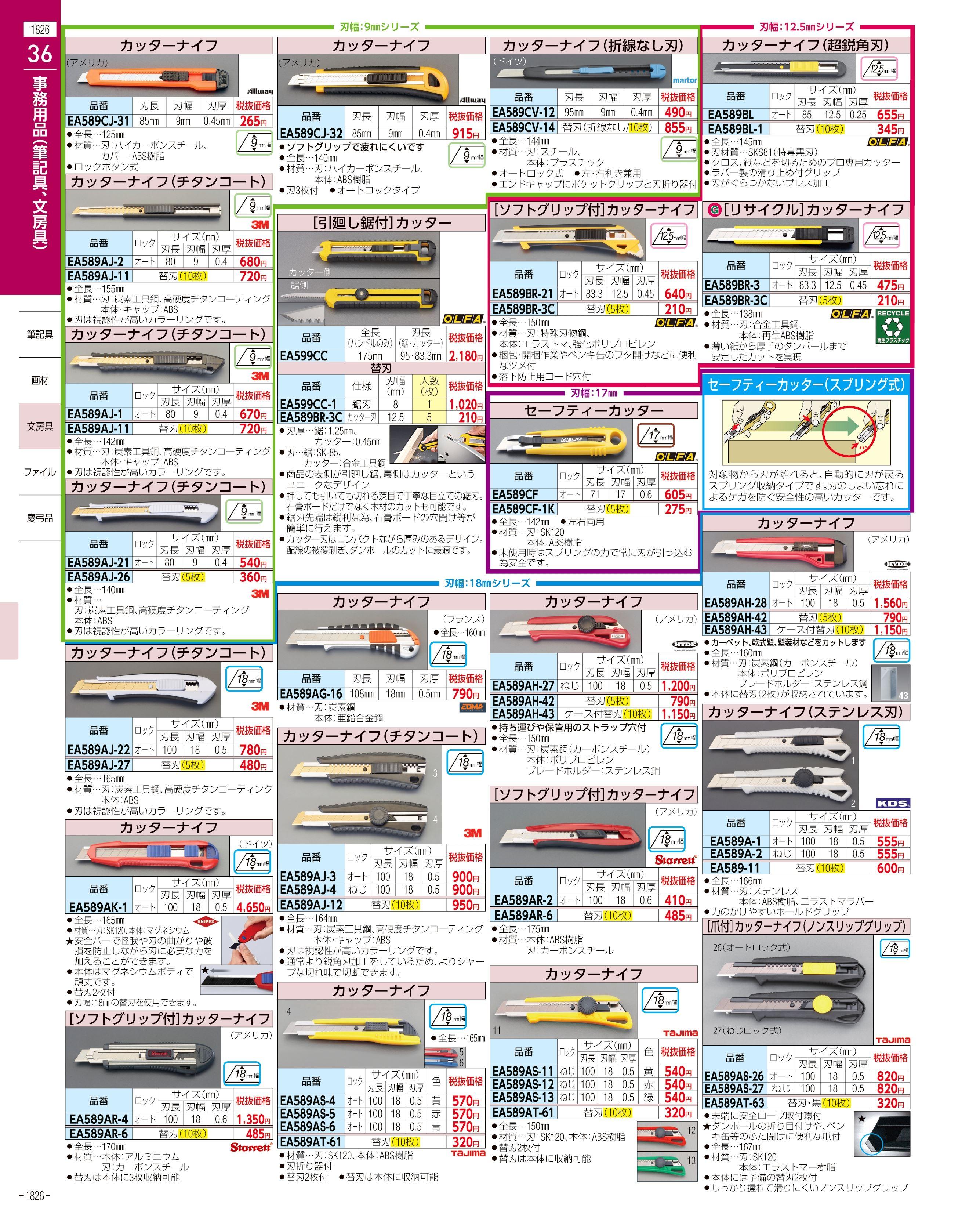 エスコ便利カタログ1826ページ