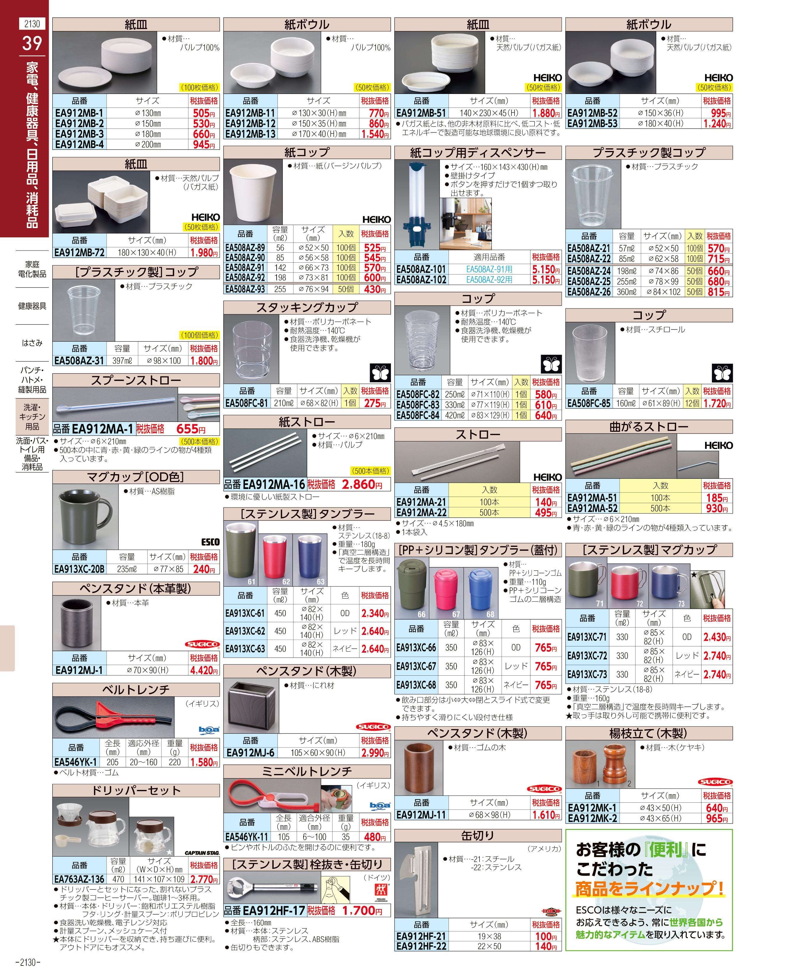 エスコ便利カタログ2130ページ